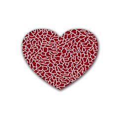 Tangled Thread Red White Rubber Coaster (heart)