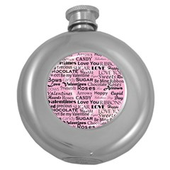 Valentine Love Heart Roses Sweet Pink Round Hip Flask (5 Oz)
