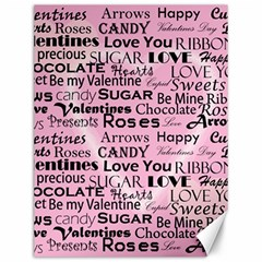 Valentine Love Heart Roses Sweet Pink Canvas 12  X 16   by Jojostore