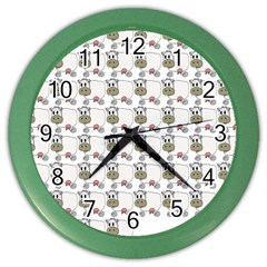 Cow Eating Line Color Wall Clocks by Jojostore
