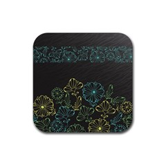 Elegant Floral Flower Rose Sunflower Rubber Square Coaster (4 Pack)  by Jojostore