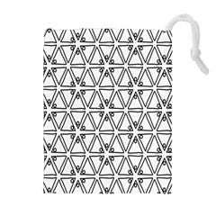 Flower Black Triangle Drawstring Pouches (extra Large) by Jojostore
