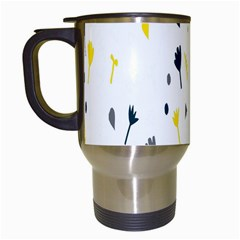 Flower Floral Yellow Blue Leaf Travel Mugs (white) by Jojostore