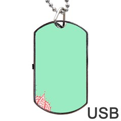 Flower Floral Green Dog Tag Usb Flash (two Sides) by Jojostore