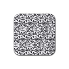 Flower Rose Black Triangle Rubber Square Coaster (4 Pack)  by Jojostore
