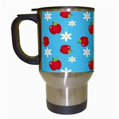 Fruit Red Apple Flower Floral Blue Travel Mugs (white) by Jojostore