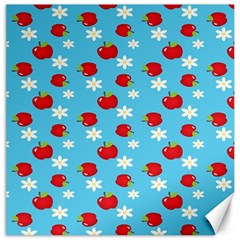 Fruit Red Apple Flower Floral Blue Canvas 12  X 12