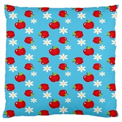 Fruit Red Apple Flower Floral Blue Large Cushion Case (two Sides) by Jojostore