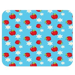 Fruit Red Apple Flower Floral Blue Double Sided Flano Blanket (medium)  by Jojostore
