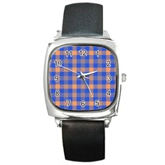 Fabric Colour Blue Orange Square Metal Watch