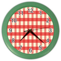 Gingham Red Plaid Color Wall Clocks by Jojostore
