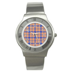Fabric Colour Orange Blue Stainless Steel Watch by Jojostore