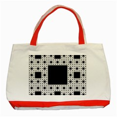 Hole Plaid Classic Tote Bag (red)