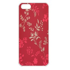 Leaf Flower Red Apple Iphone 5 Seamless Case (white)