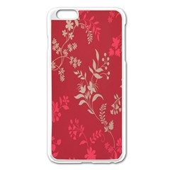 Leaf Flower Red Apple Iphone 6 Plus/6s Plus Enamel White Case