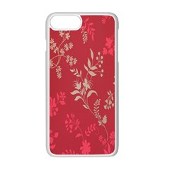 Leaf Flower Red Apple Iphone 7 Plus White Seamless Case by Jojostore