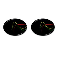 Line Red Yellow Green Cufflinks (oval)