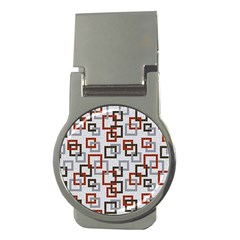 Links Rust Plaid Grey Red Money Clips (round)