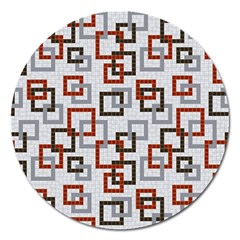 Links Rust Plaid Grey Red Magnet 5  (round) by Jojostore