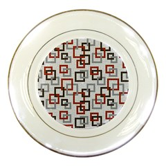 Links Rust Plaid Grey Red Porcelain Plates by Jojostore