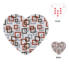 Links Rust Plaid Grey Red Playing Cards (heart)  by Jojostore