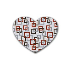 Links Rust Plaid Grey Red Heart Coaster (4 Pack)  by Jojostore