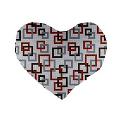 Links Rust Plaid Grey Red Standard 16  Premium Flano Heart Shape Cushions