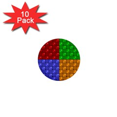 Number Plaid Colour Alphabet Red Green Purple Orange 1  Mini Buttons (10 Pack)  by Jojostore