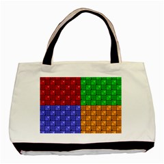 Number Plaid Colour Alphabet Red Green Purple Orange Basic Tote Bag (two Sides) by Jojostore