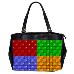 Number Plaid Colour Alphabet Red Green Purple Orange Office Handbags (2 Sides)  by Jojostore