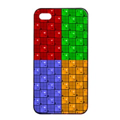 Number Plaid Colour Alphabet Red Green Purple Orange Apple Iphone 4/4s Seamless Case (black) by Jojostore