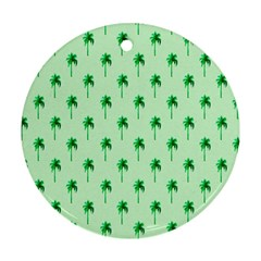 Palm Tree Coconoute Green Sea Round Ornament (two Sides) by Jojostore