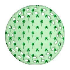 Palm Tree Coconoute Green Sea Ornament (round Filigree) by Jojostore