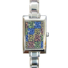 Puzzle Color Rectangle Italian Charm Watch by Jojostore