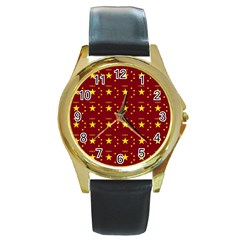 Chinese New Year Pattern Round Gold Metal Watch
