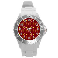 Chinese New Year Pattern Round Plastic Sport Watch (L)