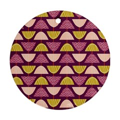 Retro Fruit Slice Lime Wave Chevron Yellow Purple Ornament (round) by Jojostore