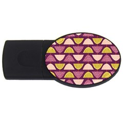 Retro Fruit Slice Lime Wave Chevron Yellow Purple Usb Flash Drive Oval (4 Gb) by Jojostore