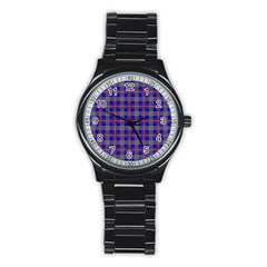 Tartan Fabric Colour Blue Stainless Steel Round Watch