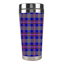 Tartan Fabric Colour Blue Stainless Steel Travel Tumblers