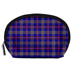 Tartan Fabric Colour Blue Accessory Pouches (large)  by Jojostore