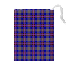Tartan Fabric Colour Blue Drawstring Pouches (extra Large) by Jojostore