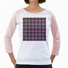 Tartan Fabric Colour Purple Girly Raglans
