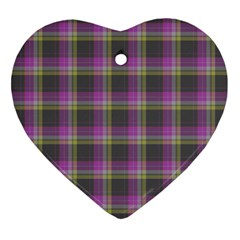Tartan Fabric Colour Purple Heart Ornament (two Sides)