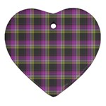 Tartan Fabric Colour Purple Heart Ornament (Two Sides) Front