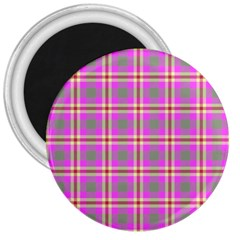 Tartan Fabric Colour Pink 3  Magnets by Jojostore