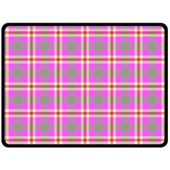 Tartan Fabric Colour Pink Double Sided Fleece Blanket (large)  by Jojostore