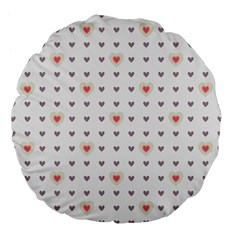 Heart Love Valentine Purple Pink Large 18  Premium Flano Round Cushions