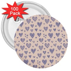 Heart Love Valentine Pink Blue 3  Buttons (100 Pack)  by Jojostore