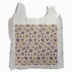 Heart Love Valentine Pink Blue Recycle Bag (one Side) by Jojostore